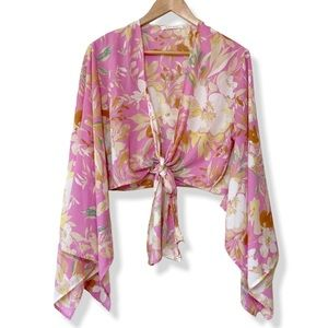 Long sleeve cropped tie front floral kimono top